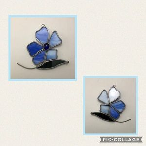 Tiffany Stained Lead Glass Blue Flower SunCatcher